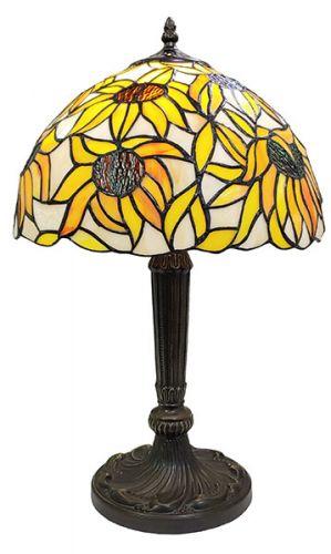 83122-Iris Pattern Tiffany Stained Glass Shade & Lamp Base