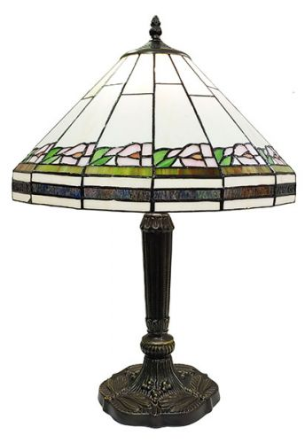 83142-Floral Border Pattern Tiffany Stained Glass Shade & Lamp Base