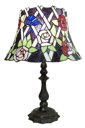 83143-Bell Rose Pattern Tiffany Stained Glass Shade & Lamp Base