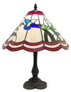 83144-Ribbon Floral Pattern Tiffany Stained Glass Shade & Lamp Base