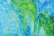 U6548- 24x15 Aqua Blue Opal/Sea Green on White w/Cobalt Blue Highlights